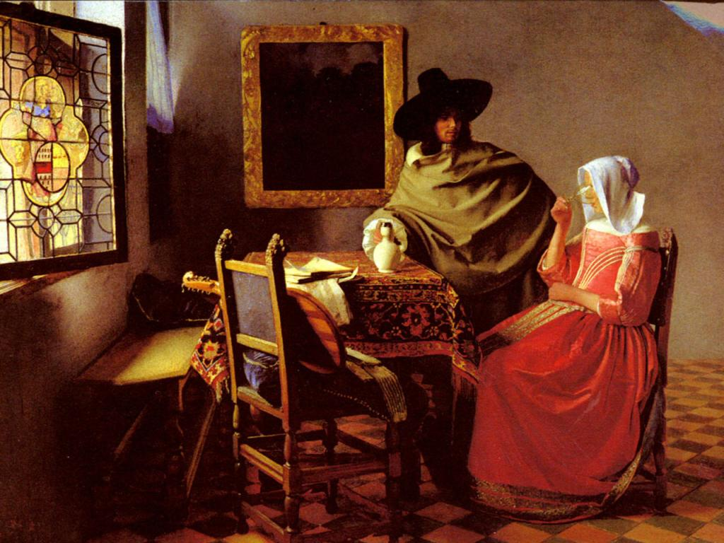 Johannes Vermeer - The Glass of Wine Wallpaper #1 1024 x 768