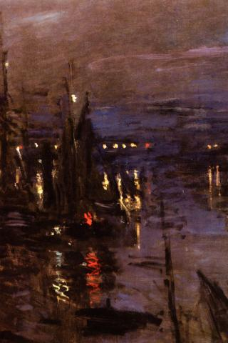 Claude Monet - Le Port du Havre, Effet de Nuit Wallpaper #4 320 x 480 (iPhone/iTouch)