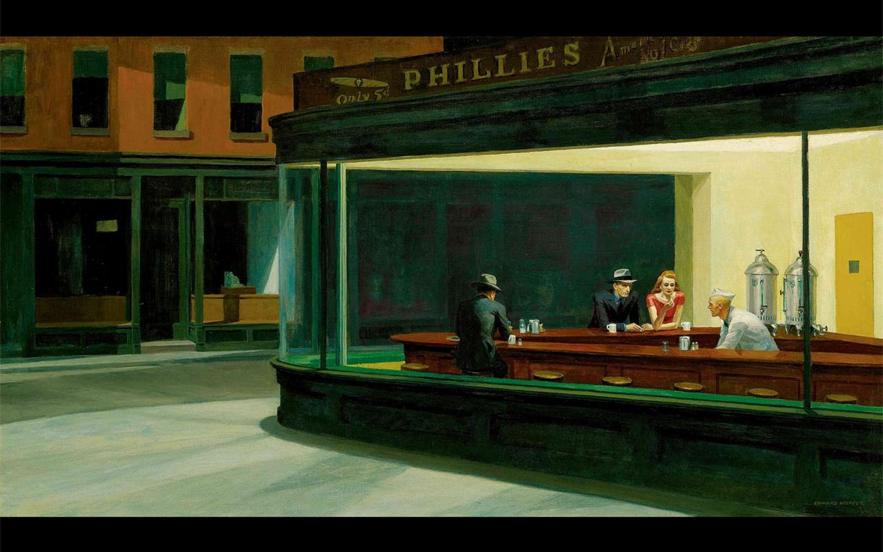 Best artist - Edward Hopper - Nighthawks (1942) 1280x800 ...