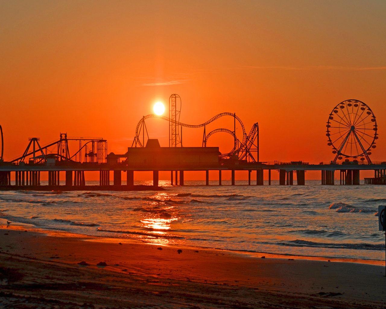 Best city - Galveston - Sunset Over Pleasure Pier ...