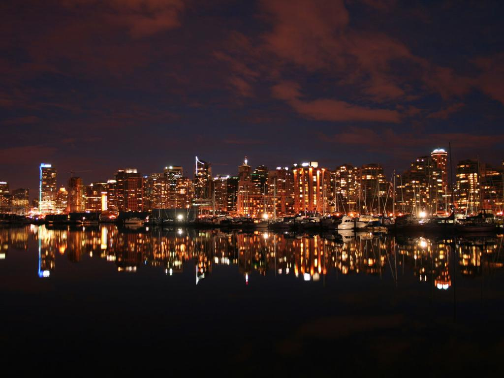 Best City Vancouver Night Skyline From Stanley Park 1024x768 Wallpaper 1