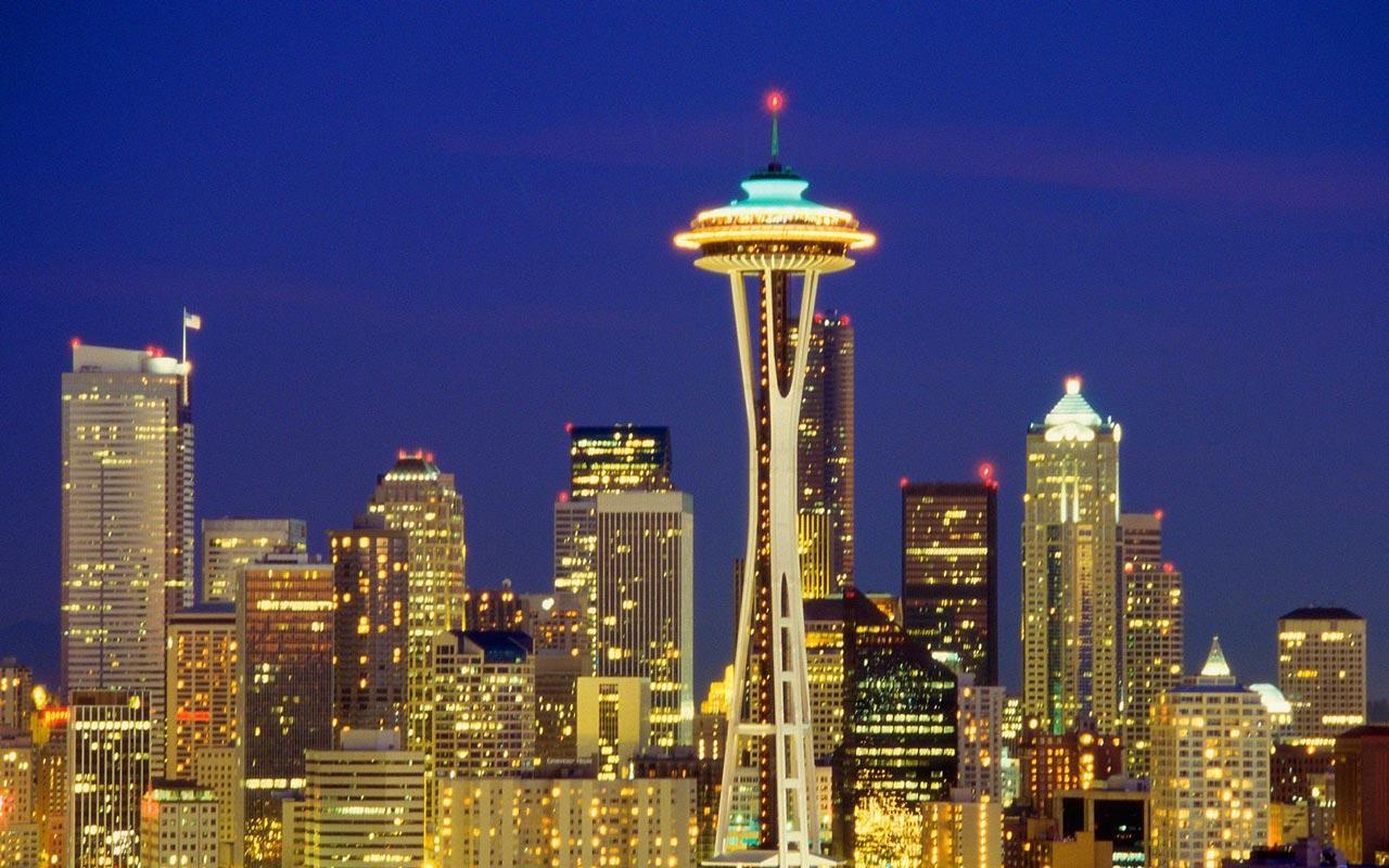 Seattle - Skyline at Night Wallpaper #1 1280 x 800