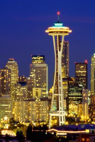 Best City Seattle Skyline At Night 320x480 Iphone Itouch Wallpaper 1